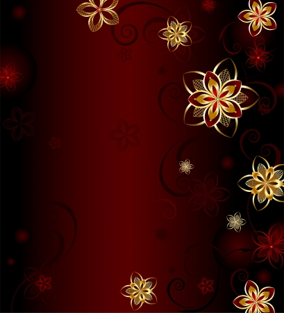 gilding: dark red background with a glowing gold stylized flowers.