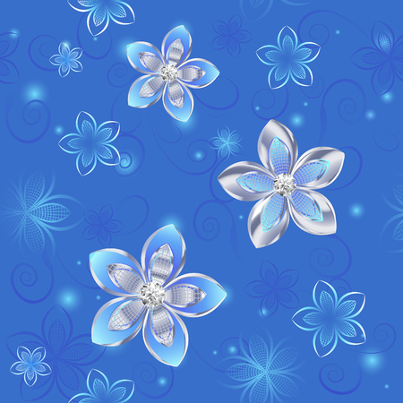 terrazzo: jewelry, seamless pattern of silver and blue flowers on a blue background.