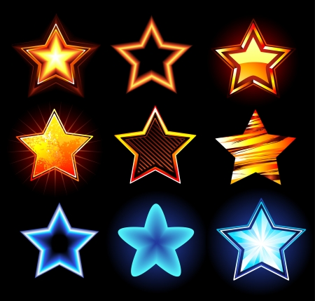 set of glowing neon stars and fire on a dark background.