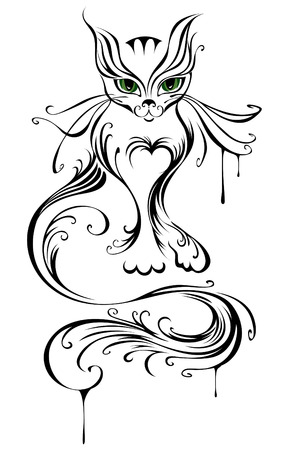 artistically painted a young cat, with green eyes, on a white background       Vector