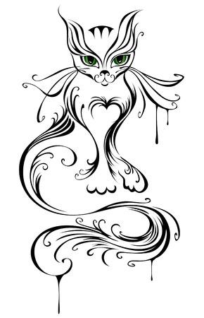 černé vlasy: umělecky malované mladou kočku, se zelenýma očima, na bílém pozadí