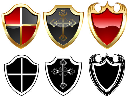 three gold and three black shield on a white background.  Illustration