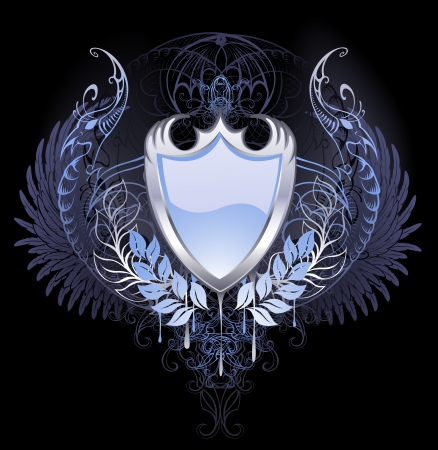 silver shield with angel wings, chimera on a dark background.  Illustration