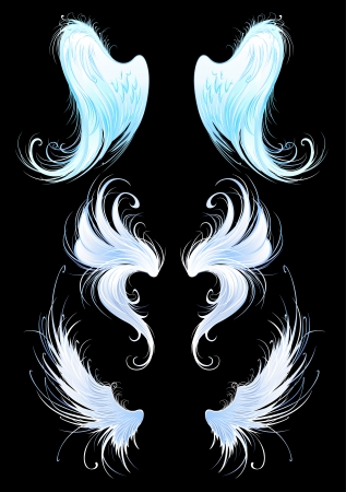 wings isolated: artistically painted, bright blue, the wings of angels on a black background.  Illustration