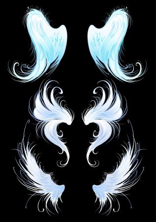 voador: artisticamente pintado, azul brilhante, as asas dos anjos em um fundo preto. Ilustra��o