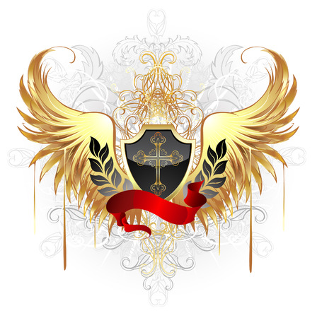 black shield, decorated with a gold cross, a red ribbon and gold wings on a white background.