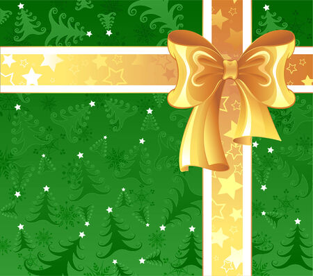 new year border: yellow silk ribbon with a white ribbon on a green Christmas background, decorated with Christmas trees and snowflakes.