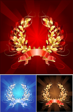 sparkling jewelry, oak wreath, made in three versions: gold, silver and copper.  Vector