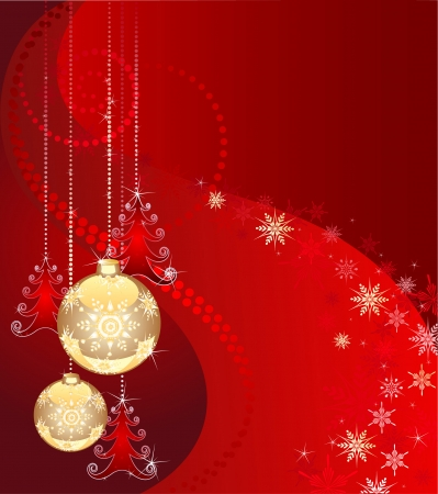 newyear: Christmas tree decorations: two gold new-year ball and three transparent christmas tree on a red background with snowflakes