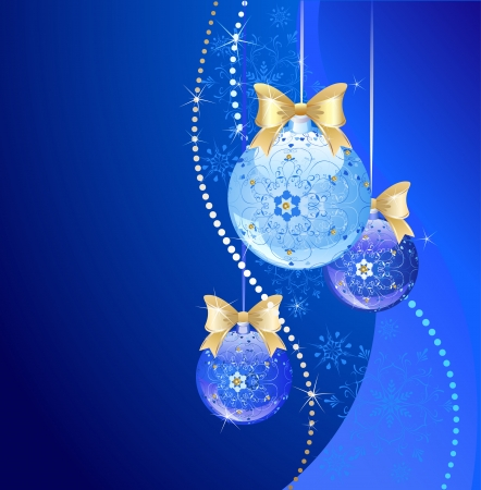goldish: decorated by an original pattern, blue transparent new-year ball and two dark blue ball on a dark blue background with snowflakes