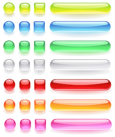 computer icons from the bright colored, transparent glass on a white background.