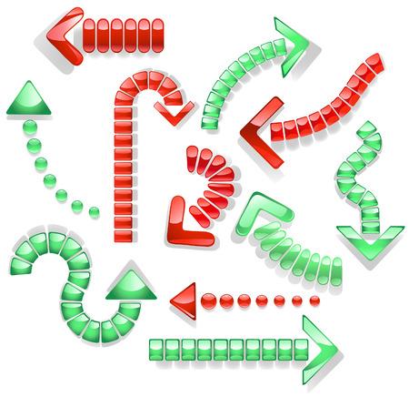 flechas curvas: flechas curvas punteadas con vidrio transparente de color rojo y verde sobre un fondo blanco.