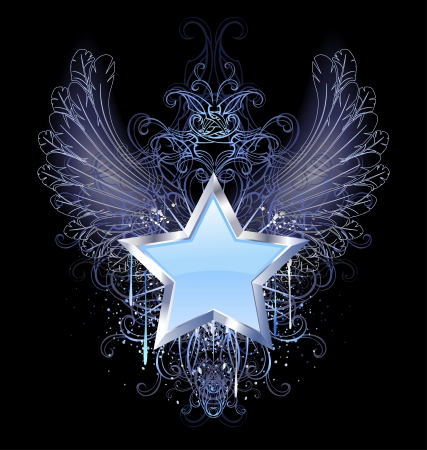 blue, silver star with angel wings outline, decorated with a drop of blue paint and a fancy pattern.  Vector