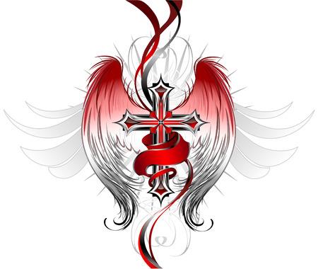 croix gothique en argent, ornée d'ailes d'ange stylisées et d'un ruban rouge vif