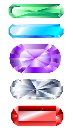 amethyst: five faceted banner jewelry made of precious stones: ruby, diamond, sapphire, emerald, amethyst on a white background