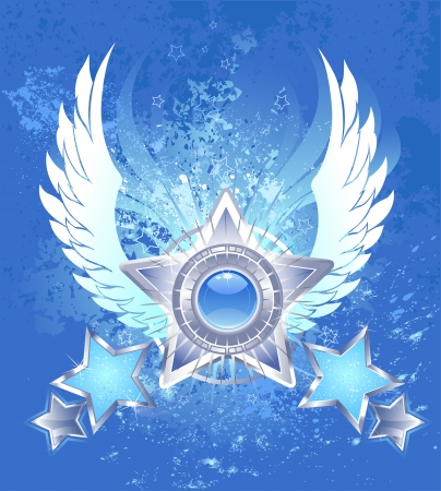 five five-pointed silver star with white stylized wings on a blue background shanked splashed blue paint  Vector