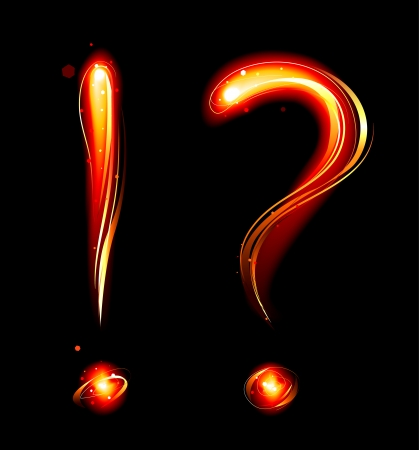question mark and exclamation mark from the fire on a dark background.