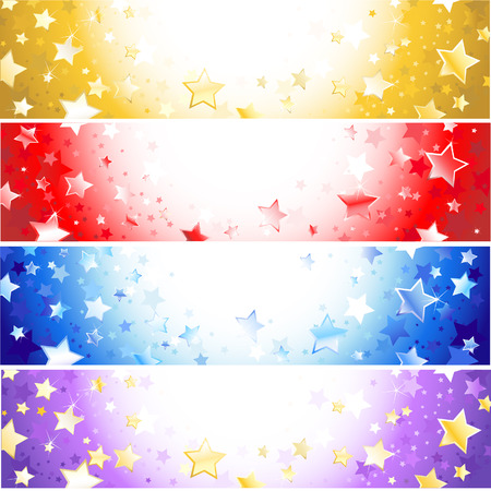 4 star: four  horizontal banner with sparkling stars, gold, purple,red and blue.