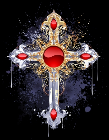 jewelry, Gothic cross of silver and gold, adorned with rubies and pattern on a black background