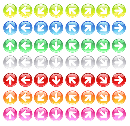 round computer icons of colored glass with carved symbols of the arrows.       Vector