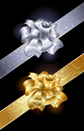 gold and silver, shiny bow on a dark background.         Vector