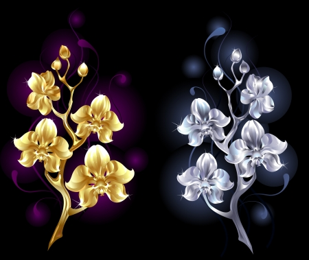 two shiny, jewelry orchids, gold and silver on a black background
