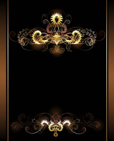 gold sparkling vignettes on a brown background.