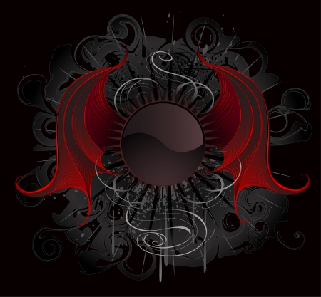 Gothic round banner with artistic painted red dragon wings on a black background.