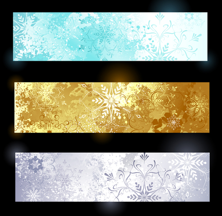three horizontal banner with snowflakes and glittering jewelry poured texture.  Vector