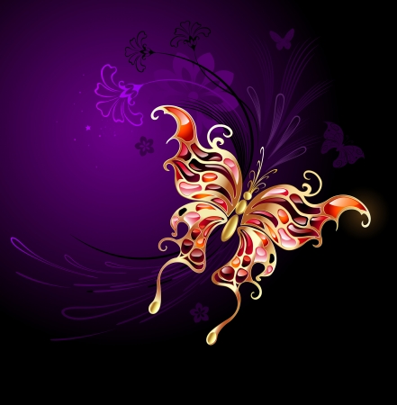 stylized butterfly in gold, inlaid with rubies on the purple background with flowers.  Illustration