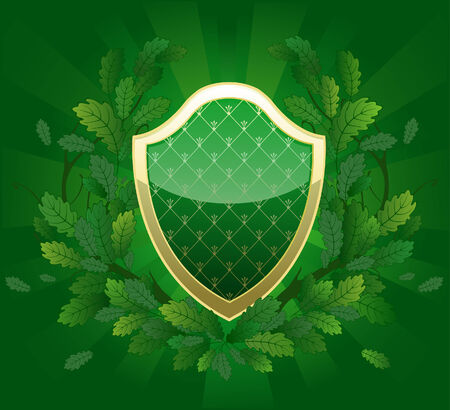 green shield with a royal pattern, decorated with oak branches green luminous background  Vector