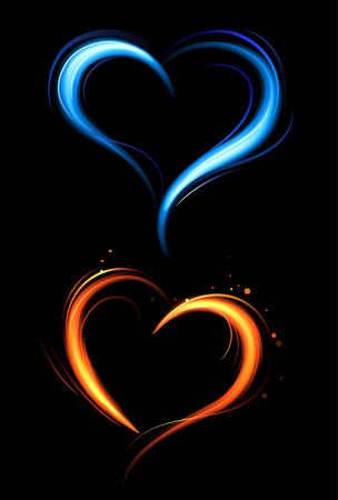 the hearts drawn with red and blue fire against a dark background.  Vector