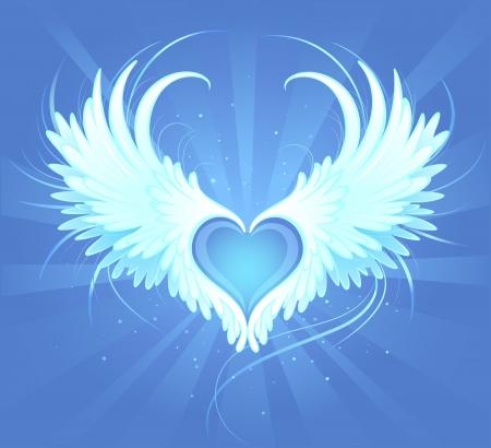 Blauw hart van een engel met geschilderde kunst, mooie witte vleugels op een blauwe achtergrond stralende