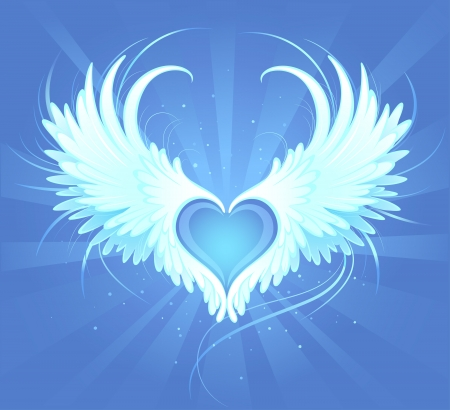 Blue heart of an angel with painted art, beautiful white wings on a blue background radiant  Çizim
