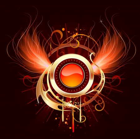 artistically painted, red-hot round banner with fiery wings phoenix on a black background.  Иллюстрация