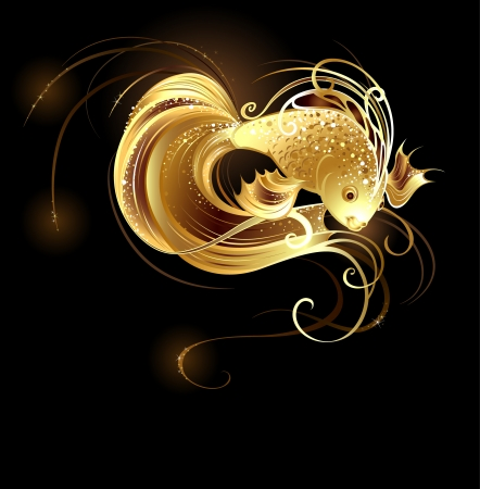 goldfish: royal goldfish with a long tail and sparkling scales on a brown background.  Illustration