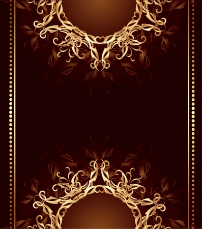 jewelry design from art painted, woven gold patterns on dark brown background