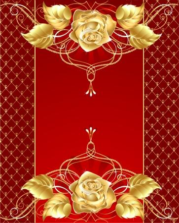 battu: fond rouge avec des bijoux en or rose mod�le plaqu� or brillant et d�licat