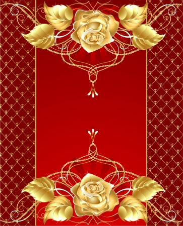 red background with gold jewelry rose brilliant and delicate gold-plated pattern
