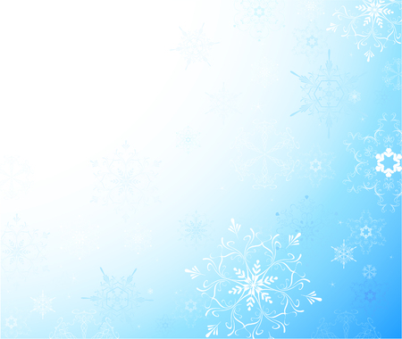 Light blue background with a thin patterned snowflakes.  Vector