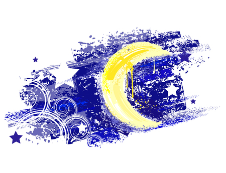 vortices: moon and night sky with stars painted saturated yellow and blue paint.