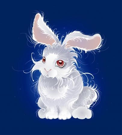 artísticamente pintados, muy esponjoso conejito, blanco en el fondo oscuro del azul brillante.