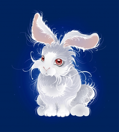 artistically painted, very fluffy, white little rabbit on the dark blue glowing background.