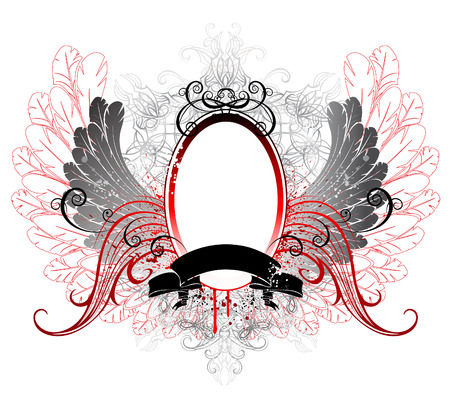 Gothic oval banner with gray wings and a black ribbon on white background. Stock Vector - 23506342