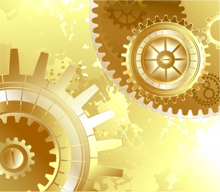 old scratched, shiny gold background with gold cogs.