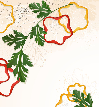 chopped: branch, green parsley and chopped red and yellow bell peppers, on a beige decorative background.