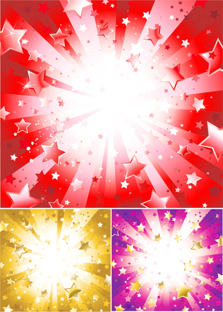 radiant light: three variants of the light background with sparkling stars, red, gold and purple. Illustration