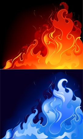 artistically: artistically painted red and blue, the gas flame in the dark luminous background.