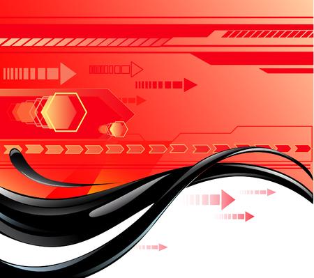 lineas rectas: flujo de aceite negro sobre un fondo rojo con símbolos de flechas y líneas rectas