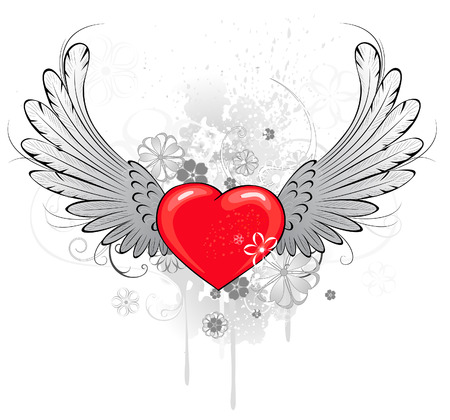 red heart with gray wings, decorated with stylized flowers.